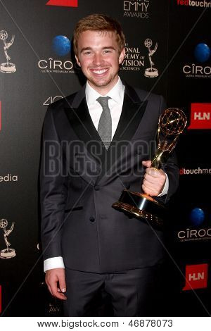 LOS ANGELES - JUN 16:  Chandler Massey in the press area at the 40th Daytime Emmy Awards at the Skirball Cultural Center on June 16, 2013 in Los Angeles, CA