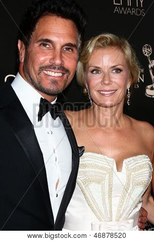 LOS ANGELES - JUN 16:  Don Diamont, Katherine Kelly Lang arrives at the 40th Daytime Emmy Awards at the Skirball Cultural Center on June 16, 2013 in Los Angeles, CA