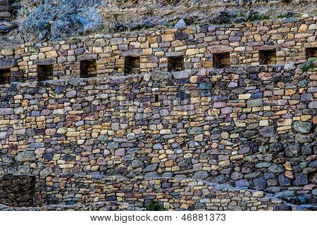 Ollantaytambo - old Inca fortress and town the hills of the Sacred Valley (Valle Sagrado) in the Andes mountains of Peru South America poster