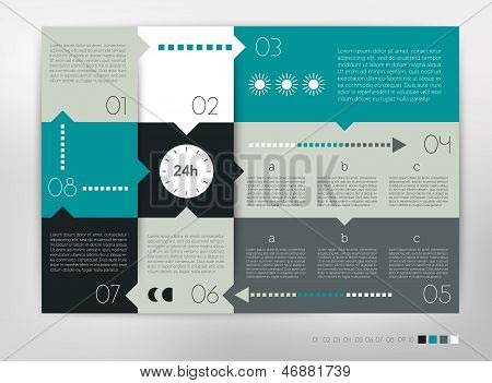 Print24 hour modern design speech  diagram for infographic. Vector numbered banners template in cold