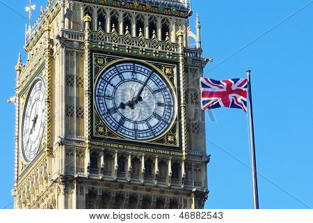 Big Ben and Flag of the United Kingdom in London Westminster City