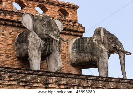 Elephant Statue , Wat Chedi Luang Temple In Thailand