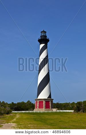 CAPE HATTERAS, USA - AUG 6, 2013: Cape Hatteras Lighthouse in Buxton on Hatteras Island on the Outer Banks of North Carolina
