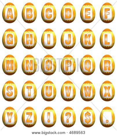 Easter Egg Font - Yellow And Orange