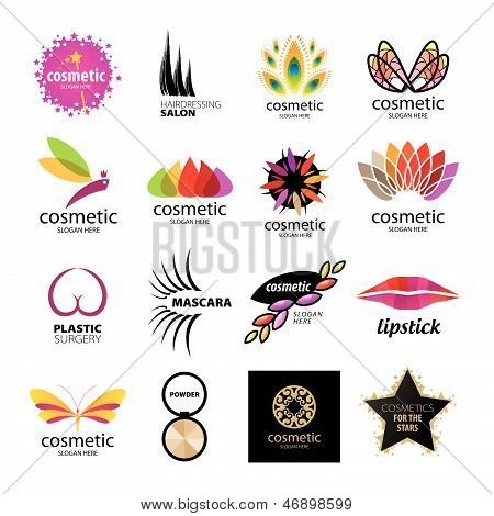 Collection of vector icons for designer cosmetics and body care productstics And Body Care