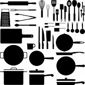Kitchen utensil silhouette collection in vector format poster