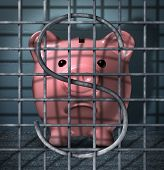 Financial crime and securities fraud business concept with a piggy bank character in a prison jail cell with a dollar sign symbol in the metal cage bars as an icon of justice for criminal finance activity. poster