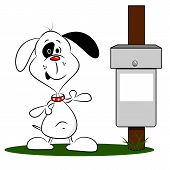 A cartoon dog next to a litter bin with copy space poster