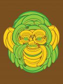Illustration of a Monkey Face made up of Bananas poster