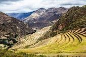 Peru Pisac (Pisaq) - Inca ruins in the sacred valley in the Peruvian Andes poster