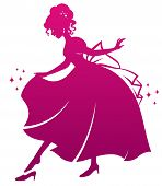 silhouette of Cinderella wearing her glass slipper poster