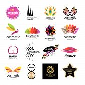 Collection of vector icons for designer cosmetics and body care products poster