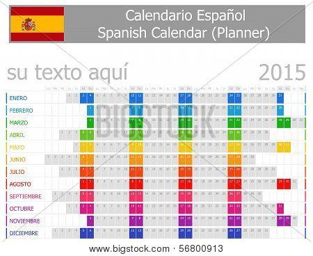 2015 Spanish Planner Calendar with Horizontal Months