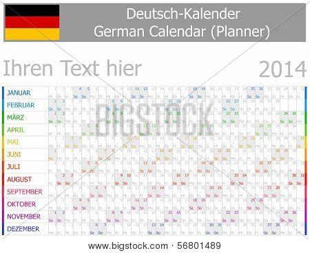 2014 German Planner-2 Calendar with Horizontal Months