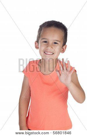 Little Boy With Orange Shirt Waving