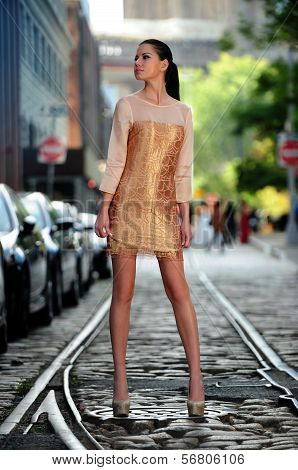 Fashion model posing in designer dress