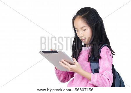 Teenager girl with backpack with digital tablet in her hands poster