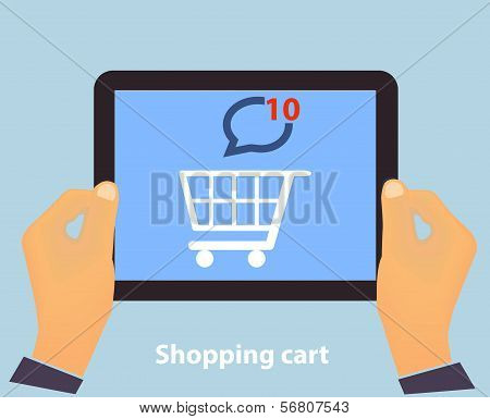 Hands holding Tablet PC screen showing on screen Shopping Cart Flat design Online Shopping concept and Computer Technology e-commerce concept in vector poster