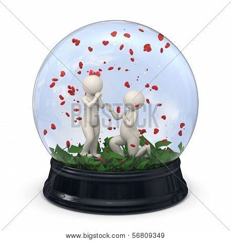 3D Couple In A Snow Globe - Marriage Proposal - Valentine
