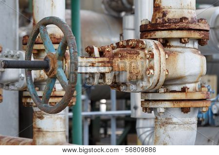 Old Gate Valve In Petrochemical Plant