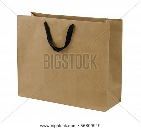 Simple Browse Recycled Paper Bag Isolated On White Background
