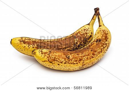 Overripe two bananas. Banana expired. Isolated on white background. poster