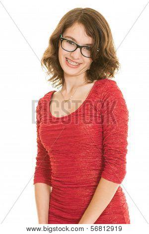 A cute teenage girl in red dress