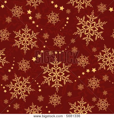 Seamless snowflakes and stars, winter pattern