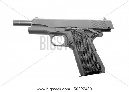 .45 ACP semi-automatic Handgun, with the slide in the locked back position, isolated on a white background