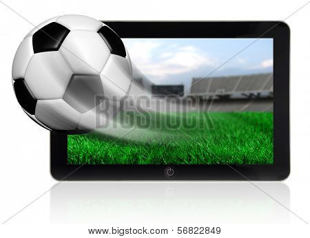 Soccer ball in motion flying off tablet screen isolated