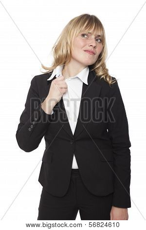 Businesswoman Pulling At Her Collar