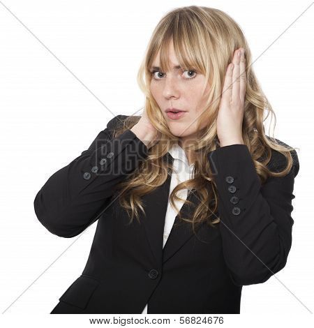 Businesswoman Covering Her Ears