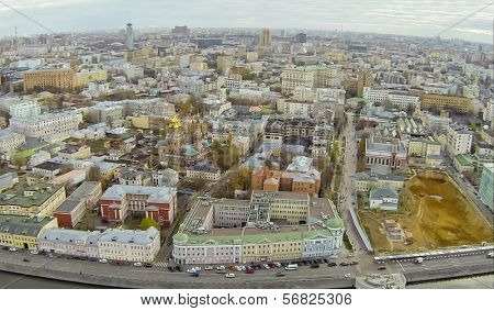 MOSCOW - OCT 10: ( UAV view)  Cityscape of Zamoskvoreche with Kadashevskaya Sloboda and Tretyakov Gallery  on October 10, 2013 in Moscow, Russia.