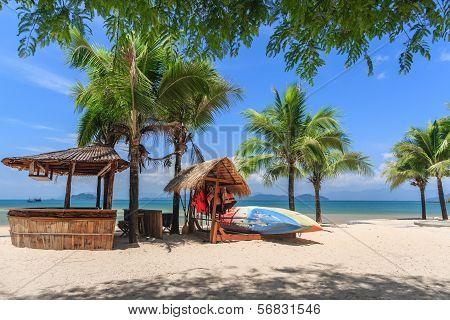 Baboo Bar On White Snad Beach At Tropical Island