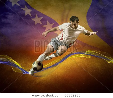 Abstract waves aroun soccer player on the national flag of Bosnia and Hercegovina background