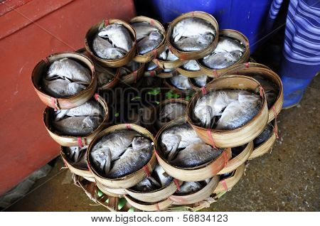 Mackerel Fish Food Thailand Bamboo Basket