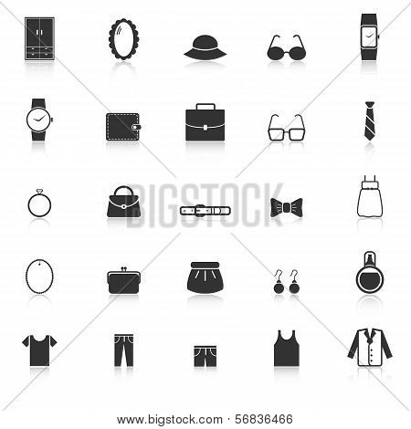 Dressing Icons With Reflect On White Background