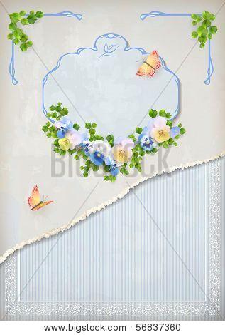 Shabby chic vintage wedding floral invitation