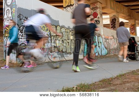 Motion Blur Of People Exercising Along Atlanta Beltline Urban Trail