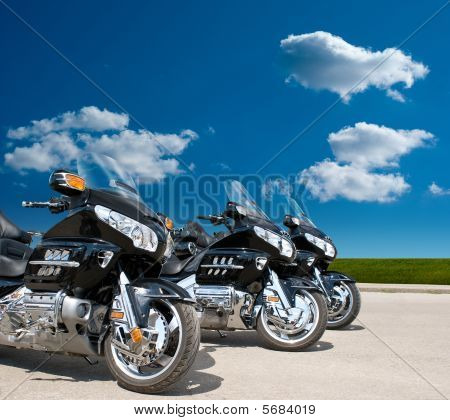 Motorcycles On A Road