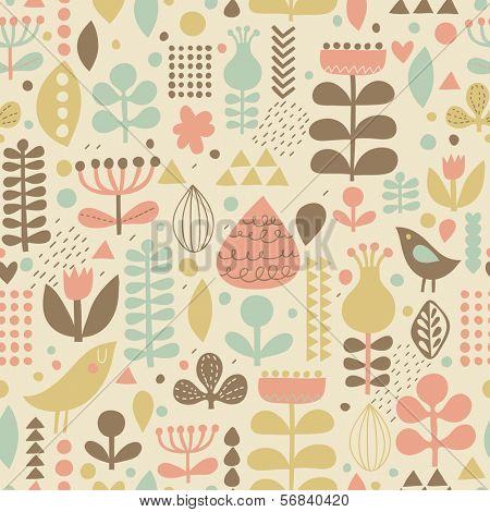 Vintage floral background with cute birds in vector. Seamless pattern can be used for wallpapers, pattern fills, web page backgrounds, surface textures. Gorgeous vector background in stylish colors