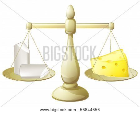 Comparing chalk and cheese on a set of scales conceptual illustration for necessity to balancing different things or futility of trying to do so poster