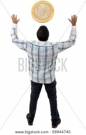 Worship Of Money On White Background