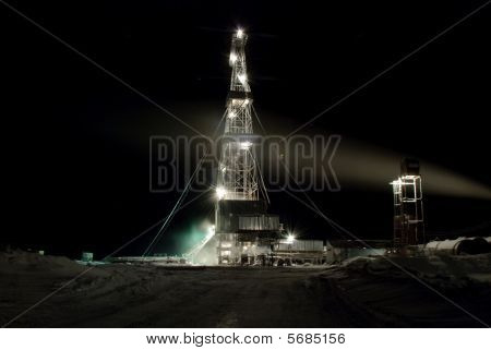 Drilling Rig In The Night. Winter.