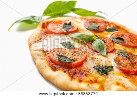 Delicious and Beautiful Margarita Pizza  Isolated on White Background