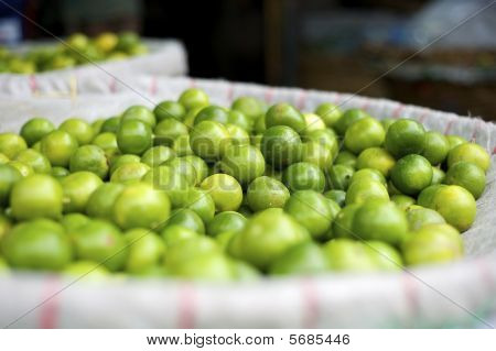 Limes at an asian fruits market