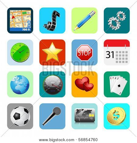 Internet Web Icons Isolated on White Background. Set. Stock Illustration.