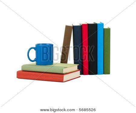 Books And Coffee Mug Isolated On White