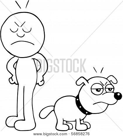 Man And Dog Angry