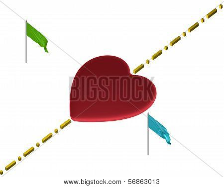 Red heart with boundary line and flags isolated on white